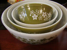 Vintage Pyrex Mixing bowls Spring Blossom green NICE!
