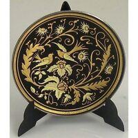 Damascene Gold Dove of Peace Round Decorative Miniature Plate Midas Toledo Spain