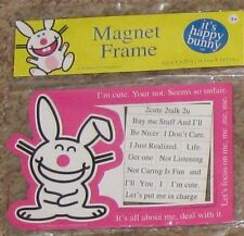 "Pink White Rabbit Humor Magnetic 4 1/2"" X 6 1/2"" Photo Frame w Signage"
