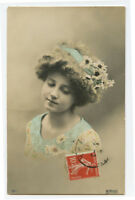 c 1910 Child Children Little GIRL w/ FLOWERS in Hair photo postcard