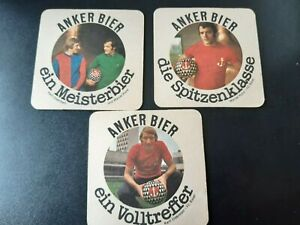 3 alte Bierdeckel Anker Bier Fußball football Schweiz Odermatt Serie FC Basel