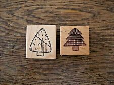 Patchwork Tree Rubber Stamp, Pine Tree Rubber Stamp