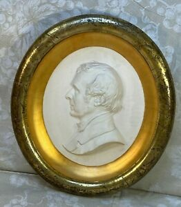 Thomas Dow Jones Bas Relief Sculpture Bust of William Seward in Shadowbox Frame