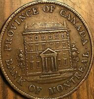1844 LOWER CANADA BANK OF MONTREAL HALF PENNY TOKEN