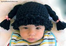 Cabbage Patch Kid Crochet Hat Wig  Black Pigtail Braids Infant Toddler Adult