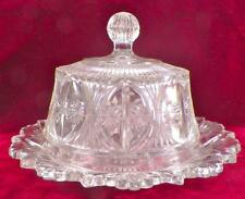 Antique Butter Dish Wheat & Burr EAPG Early American Pattern Glass Clear Scarce