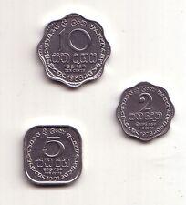 Sri Lanka set 3 monete fdc 2, 5 e 10 cents  km#138,139a,140a