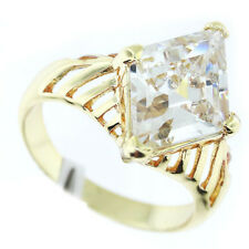Ladies Diamond Shape Stones 18kt Gold Plated Ring Size 9