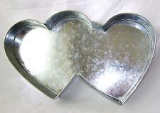 "NEW DOUBLE HEART SHAPE PROFESSIONAL CAKE PAN TIN 15"" X 7"" EUROTINS"