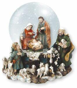 Christmas Snowglobe Waterball Nativity 5 Figures Xmas Ornament
