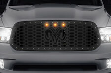 Custom Steel Grille RAM + 3 Raptor Amber Lights for 2013-16 Dodge Ram 1500 Truck