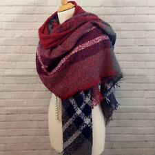 Womens Fab Large Square Scarf Shawl Wrap Red Blue  Checked Loop Yarn Style