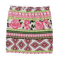 Blumen Muster geblümt  Gr.34/36 Mini ROCK Shirtrock rosa weiß grün schwarz