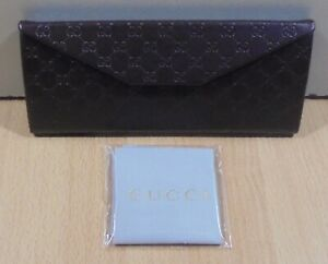 GUCCI DARK BROWN LEATHER EYEGLASSES CASE NEW