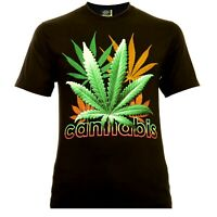Rock Eagle Herren T-Shirt Schwarz Cannabis Color Lettering Weed Marijuana THC