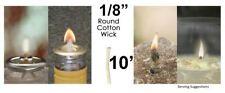 1/8 Round Cotton Wick 10' Kerosene Lantern Lamp Tiki Rock Candle Wick USA Seller