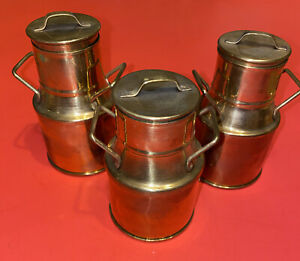 """3 Small Mini Miniature 4"""" Solid Brass Milk Can Made in India With Lids"""