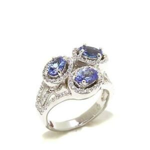 HSN Rarities  Gemstone and White Zircon Oval 3-Stone Ring Size 7