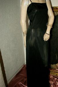 Langes Nylon Negligee * Nachtkleid Glanz anmutig schwarz Vintage sanft Gr.46