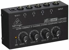 Headphone Mixer Amp 4 Channel Stereo LED Compact DC 12 V Adapter Included New