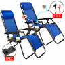 Case Of 2 Blue Zero Gravity Chairs Patio Yard Lounge Beach Outdoor Folding Chair