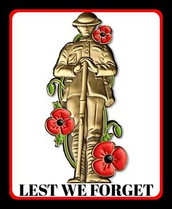 """10"""" x 8"""" REMEMBRANCE DAY LEST WE FORGET POPPY POPPIES METAL PLAQUE WALL SIGN R78"""