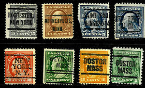 """New York MINN MASS"" Washington Franklin Precancel Collection 1-30 Cent US 91"
