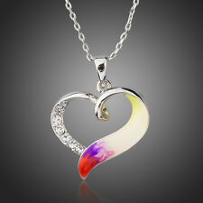 Multi Coloured Love Heart Rhinestone Enamel Oil Paint Necklace Pendant Jewellery
