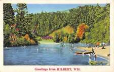 Hilbert Wisconsin Scenic Waterfront Greeting Antique Postcard K100327