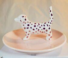 Spotted Dalmatian Dog Pink Ceramic Trinket Ring Holder Dish