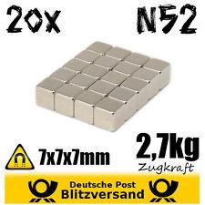 20x neodimio imán cubo 7x7x7mm n52-magnética geocaching fuertes imanes Mini