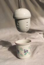 """Vintage Ceramic Tea Ball With Cup Holder - Infuser, Steeper - 3"""" Tall"""