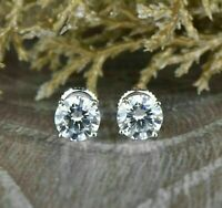 2.00 Ct Round Cut Diamond Stud Earrings Screw Back 14K White Gold Finish