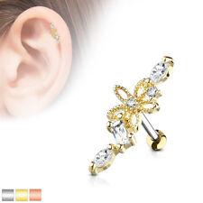 Hollow FLOWER GEM Studs CARTILAGE EAR Crawler HELIX Tragus Ring Auricle Piercing