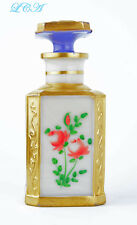 Antique WHITE glass PERFUME dresser BOTTLE w/GOLD GILT painted FLOWERS & STOPPER