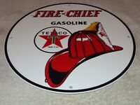 """VINTAGE TEXACO FIRE CHIEF GASOLINE! FIGHTER 11 3/4"""" PORCELAIN METAL GAS OIL SIGN"""