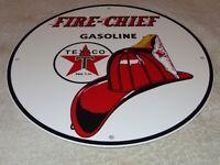 "VINTAGE ""TEXACO FIRE CHIF GASOLINE"" FIGHTER 11 3/4"" PORCELAIN METAL GAS OIL SIGN"