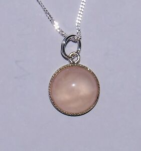 """Rose Quartz Gem N/lace Sil Plate Pendant with 16 or 18"""" Sterling Sil Curb Chain."""