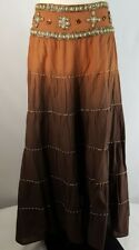 Beaded Embellished YOKE Skirt Romantic Midi Boho Cotton Ombre Sz L Tiered Hippie