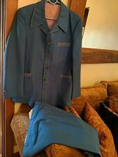 Men's 1970s Blue Polyester Leisure Suit Jacket 38 Pants 30x32 70s Vtg Disco