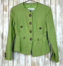 MAX MARA Linen Vibrant Green Button Closure Elastic Jacket Blazer US 2 S ITALY