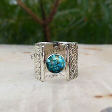 Turquoise Ring Blue Copper 925 Sterling Silver Ring Handmade Ring Jewelry - H713