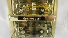 FIRST SHOT, THE MUNSTERS DRAGULA COFFIN CAR, BARRIS, RUBBER TIRES, GOLD / ZAMAC