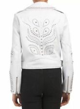 BELLE VERE WHITE LEATHER STUDDED MOTO JACKET-XS-NWT-$145