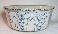 Antique Spongeware Bowl Cobalt Blue Paneled 7 Inch