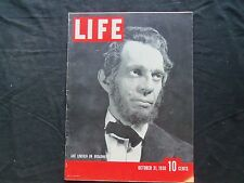 1938 OCTOBER 31 LIFE MAGAZINE - RAYMOND MASSEY AS LINCOLN ON BROADWAY - L 102