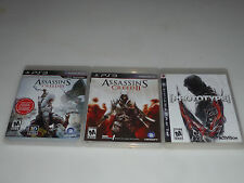 PLAYSTATION 3 VIDEO GAME LOT ASSASSINS CREED II III PROTOTYPE PS3 ACTIVISION