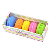 5Pcs Fashion Cute Macarons Colors Rubber Pencil Eraser Sweet Stationery Set HEO