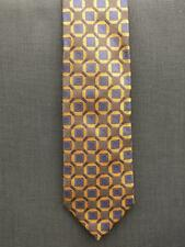 "NWOT Tino Cosma Brown & Gold Geometric Silk Tie 3 1/2"" Wide SignedTino Cosma"