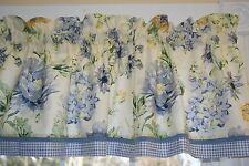 """Ametax Blue White Gold Green Floral Toile Valance 17"""" x 54"""" Drapery Wt Curtain"""